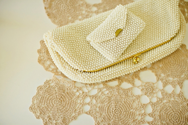 pearl encrusted clutches, bridal accessories, simple lakeside wedding, peach, pink, beige, cream, and mint wedding ideas, Ruth Eileen Photography