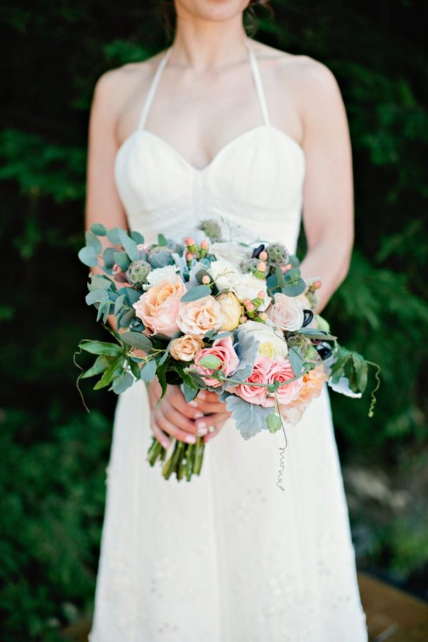BHLDN wedding dress, peony, rose, lamb's ear and scabiosa pod bouquet, beautiful bridal bouquet, simple lakeside wedding, peach, pink, beige, cream, and mint wedding ideas, Ruth Eileen Photography