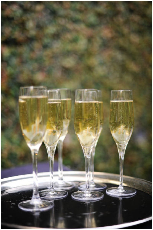 chilled champagne glasses, champagne toast