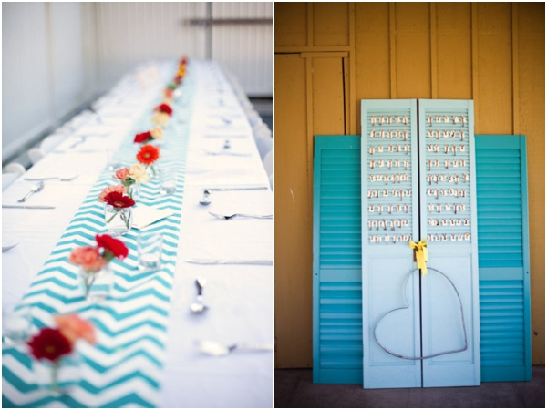 aqua blue chevron table runner, blue shutter escort card display, blue wedding ideas
