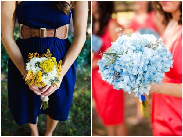 navy blue rustic bridesmaids dress, yellow bridesmaids bouquet, bright red bridesmaids dresses, light blue hydrangea bouquets, blue wedding ideas