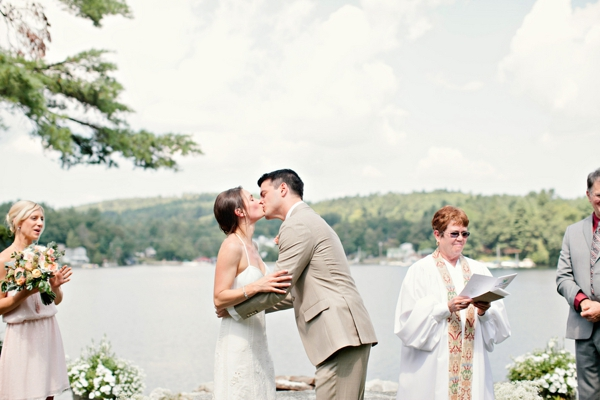 first kiss as husband and wife, simple lakeside wedding, peach, pink, beige, cream, and mint wedding ideas, Ruth Eileen Photography