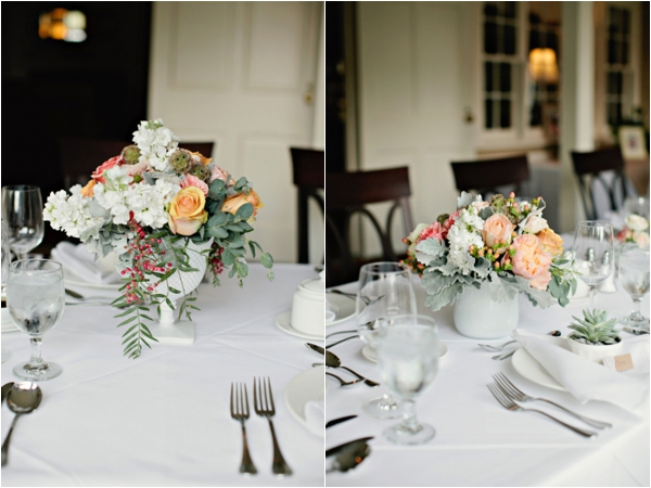 simple and pretty tablescape, table settings, peach floral centerpieces, simple lakeside wedding, peach, pink, beige, cream, and mint wedding ideas, Ruth Eileen Photography