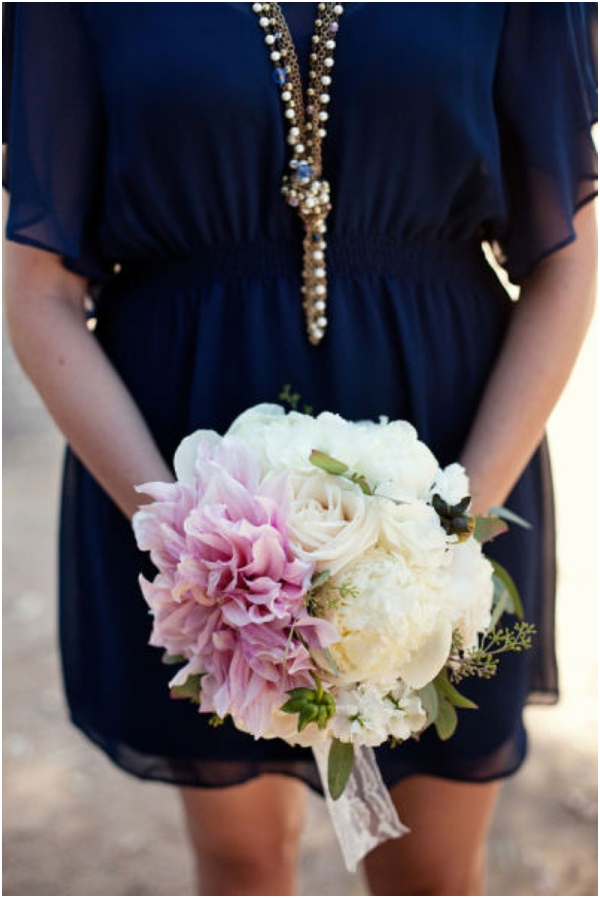 navy blue sheer overlay bridesmaids dress, pink and white bouquet, blue wedding ideas