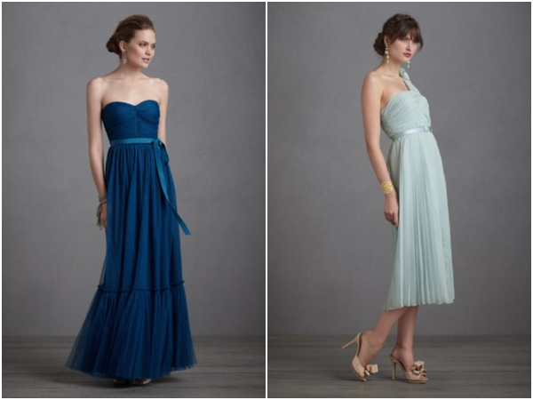 long peacock blue sheer tulle bridesmaids dress, tea length light blue pleated bridesmaids dress, BHLDN, blue wedding ideas