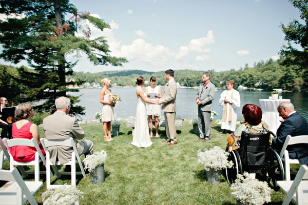 lakeside ceremony, personal wedding vows, simple lakeside wedding, peach, pink, beige, cream, and mint wedding ideas, Ruth Eileen Photography