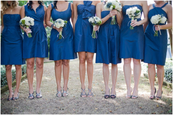 blue mismatched J.Crew bridesmaids dresses, blue wedding ideas