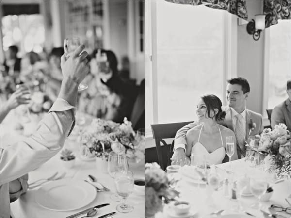wedding reception toasts, bride and groom, simple lakeside wedding, peach, pink, beige, cream, and mint wedding ideas, Ruth Eileen Photography