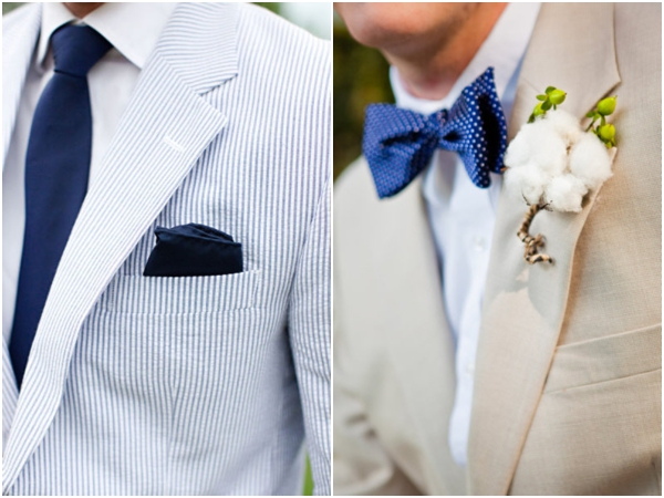 navy blue seersucker suit jacket, navy blue tie, navy blue handkerchief square pocket, classic men's attire, royal blue polka dot bow tie, blue wedding ideas
