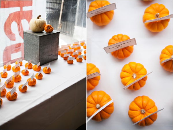 mini pumpkin escort cards, purple and orange New England fall wedding, Deborah Zoe Photography