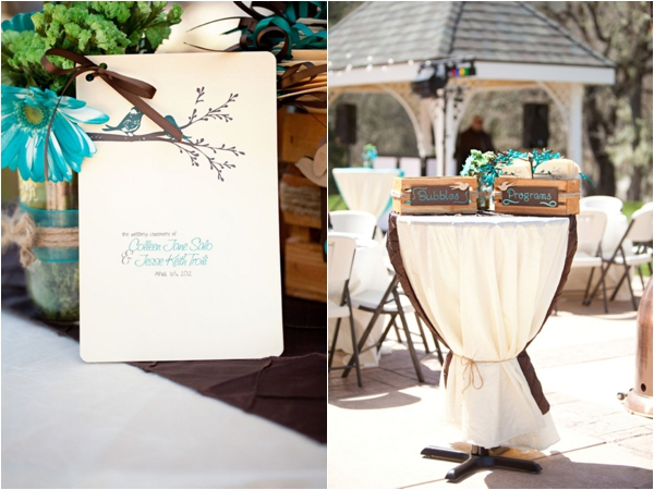handmade ceremony programs, turquoise decor, hand painted boxes of bubbles and programs, rustic turquoise California wedding, Mirelle Carmichael Photography