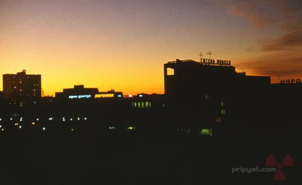 Night time shot of Pripyat