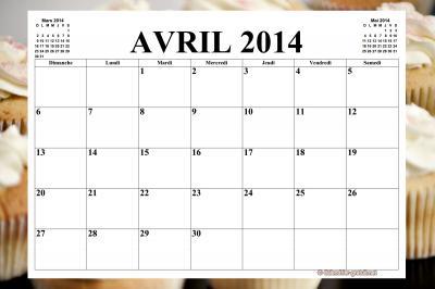 CALENDRIER AVRIL 2014 MENSUEL GRATUIT A IMPRIMER