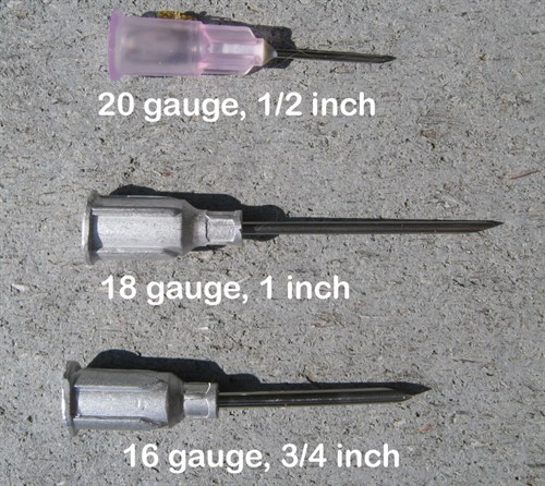 injection sizes