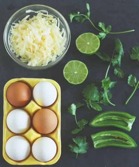 Ingredients for jalapeno-cheddar eggs benedict with cilantro-lime hollandaise