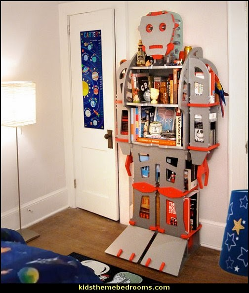 Giant Retro Robot Shelf  Outer space decor - space themed kids rooms - planets decor - astronaut wall murals  - outer space bedding - galaxy themed room decor - space themed bedding - planet wall decals - sci fi themed bedroom robots rockets monsters aliens - Star Wars Bedrooms -