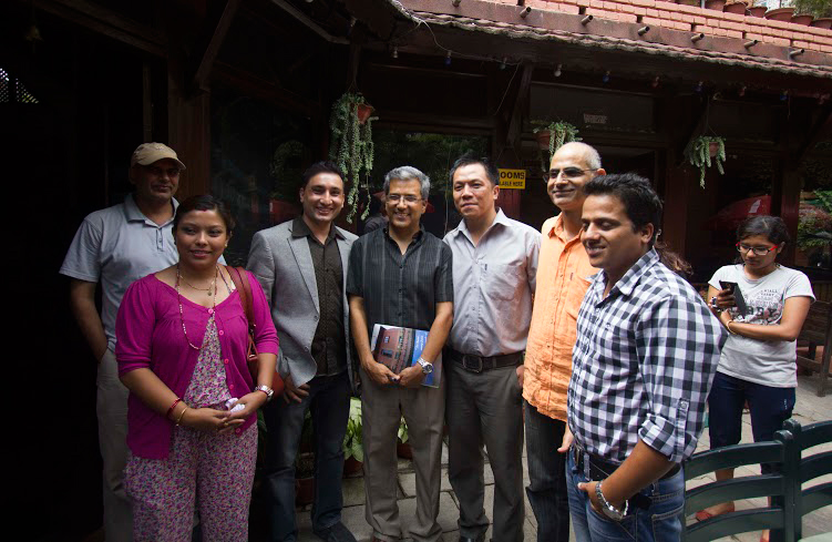SoftNEP CEO, Sunil Rijal with the Athiti speaker, Mr. Rabindra mishra, Arun Rai (Communications Specialist) & Dharma Adhikari (Chairperson of MediaGufa) along with the participants