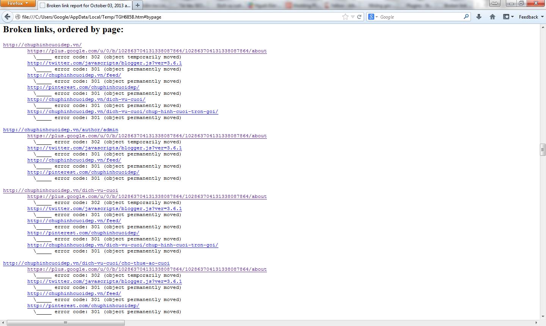 Report Broken Link từ phần mềm SEO Xenu - Kiểm tra link website lỗi