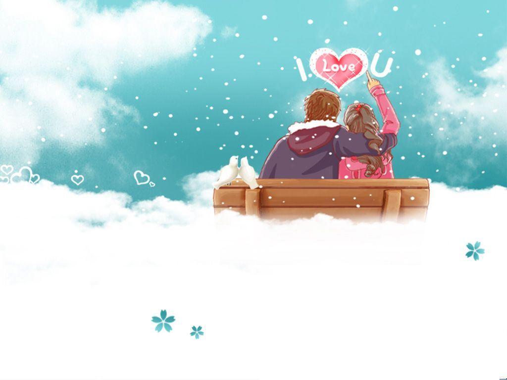 冬天浪漫恋人 空间背景图片
