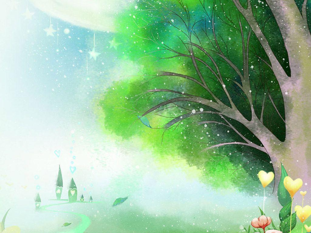 卡通儿童梦幻森林 课件背景图片