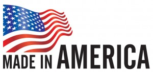 Made in America text with American Flag