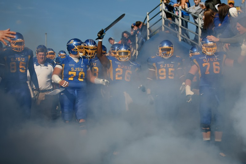 The SJSU football heads out to the field before its game against Navy on Nov. 19. Photo by Vernon McKnight / Spartan Daily