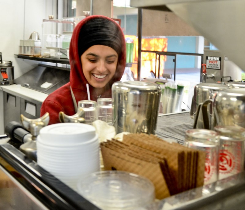 Freshman health science major Gurpreet Ishpuniani works at the organic Grounded bistro and coffee shop in the Boccardo Business Complex plaza. As a vegetarian, she enjoys serving the all-organic and healthy menu. Ishpuniani took the job for experience and some extra pocket money. Grounded was started by health science major Melissa Newman, who proposed the idea to Spartan Shops.