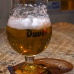Trails' Duvel Golden Ale is a light fruit and herb flavored Belgian beer served in a tulip glass. Photo by Jack Barnwell / Spartan Daily