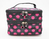 Housweety Unique Dots Pattern Double Layer Cosmetic Bag Black (a, dots)