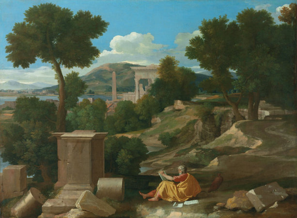 Nicolas Poussin, Landscape with Saint John on Patmos, 1640, oil on canvas, 100.3 x 136.4 cm (The Art Institute of Chicago)