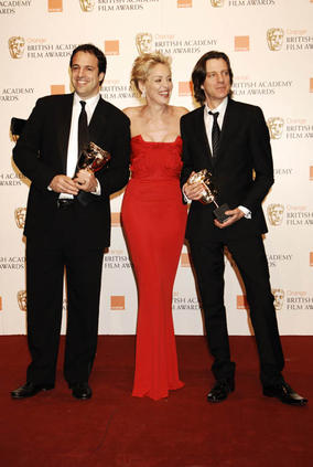 Simon Chinn and James Marsh with Sharon Stone at the Orange British Academy Film Awards in 2009