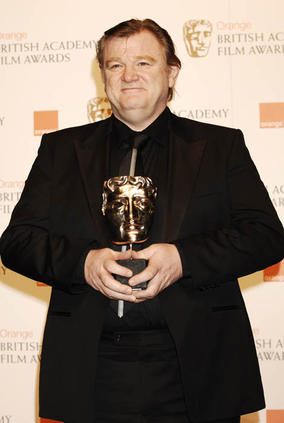 Brendan Gleeson accepts the Original Screenplay at the Orange British Academy Film Awards in 2009 on behalf of In Bruges writer/director Martin McDonagh.