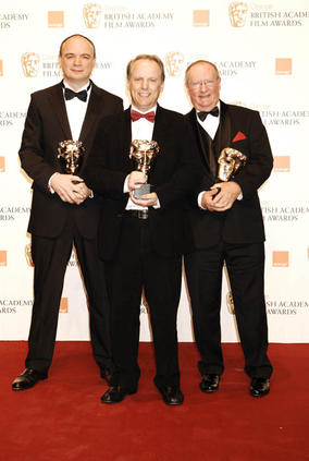 Nick Park with Short Animation winners at the Orange British Academy Film Awards in 2009