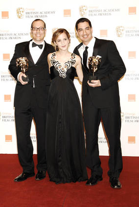 Eric Barba and Edson Williams with Emma Watson at the Orange British Academy Film Awards in 2009