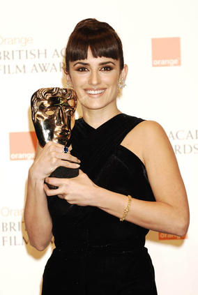 Penelope Cruz received Best Supporting Actress Award at the Orange British Academy Film Awards in 2009