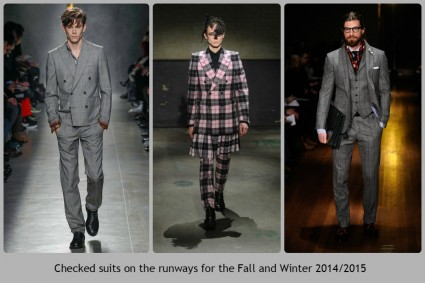 Checked suits by fashion designers