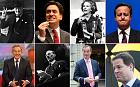 Clockwise: Winston Churchill, Ed Miliband, Margaret Thatcher, David Cameron, Nick Clegg, Nigel Ferage, Clement Attlee and Tony Blair