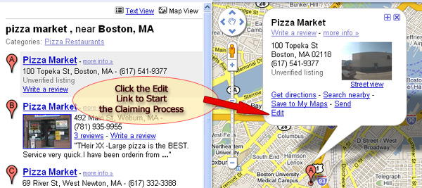 Click the Edit link to begin the process of claiming your Maps listing