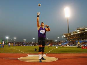 15 May 2015: David Storl of Germany competes in the Men's Shot Put during the Doha IAAF Diamond League 2015 meeting at the Qatar Sports Club in Doha, Qatar