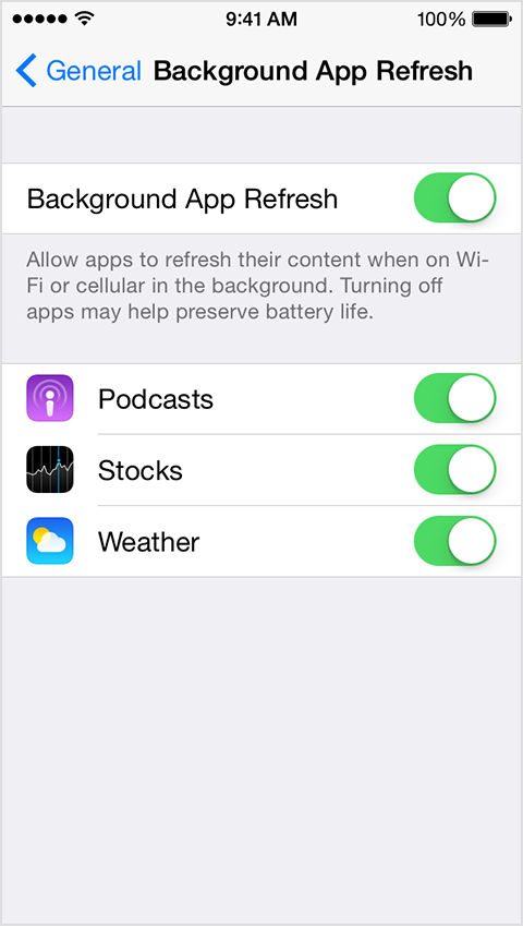 iPhone screen showing Background App Refresh option in Settings.
