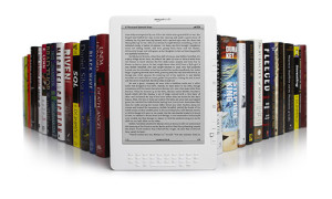 picture of a Kindle and books