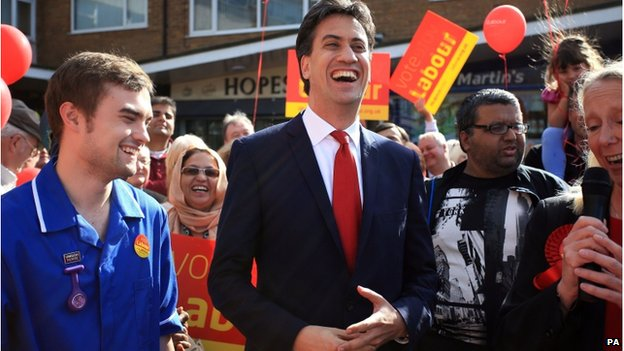 Ed Miliband on the campaign trail in Middleton
