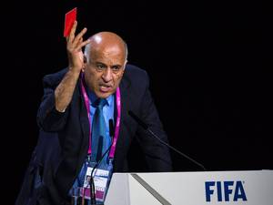29 May 2015: Jibril Rajoub, President of the Palestinian Football Association (PFA), speaks during during the 65th FIFA Congress at the Hallenstadion in Zurich, Switzerland. The PFA dropped a motion to suspend Israel at the FIFA congress, its president Jibril Rajoub tells the delegates of the ruling body. The FIFA Congress will elect the FIFA president