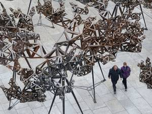 29 May 2015: Artist Conrad Shawcross' installation, 'The Dappled Light of the Sun, 2015' in the courtyard at the Royal Academy of Arts in London