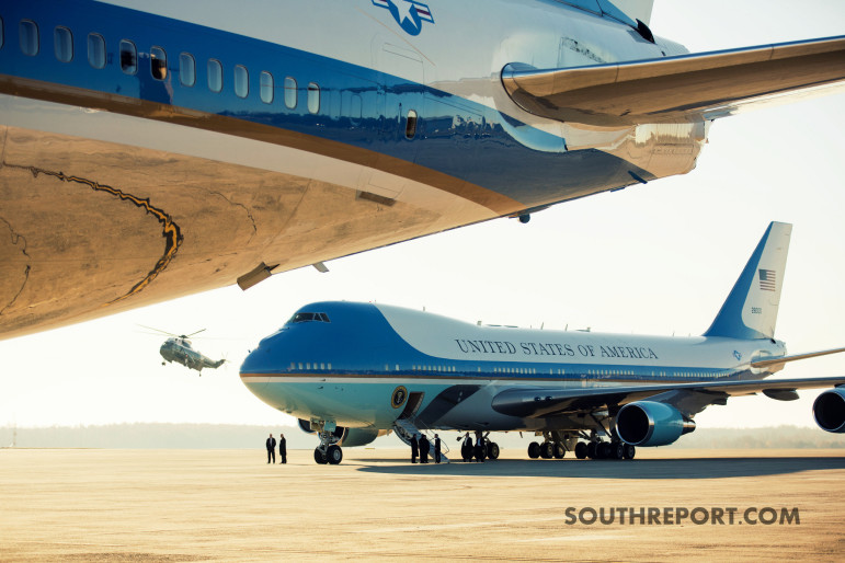 The view of Air Force One from its Twin.