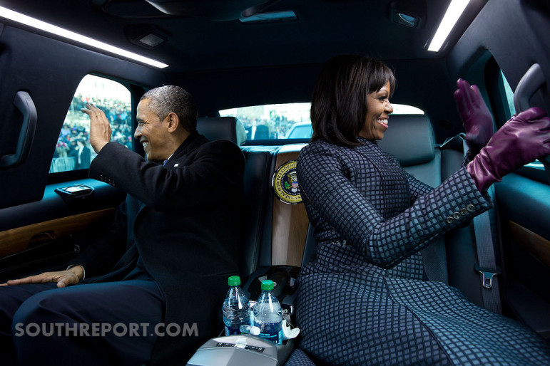 President Obama and the First Lady in the Presidential Limousine