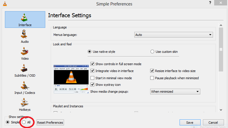 Simple preferences VLC