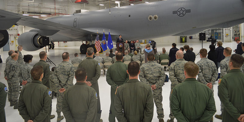 Governor Walker outlines the veterans package in the budget at the 128th Air Refueling Wing. 02/19/13