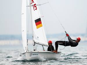 12 June 2015: Julian Autenrieth and Philipp Autenrieth of Germany in action in the ISAF Sailing World Cup in Weymouth, England