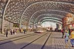 A computer-generated image from inside Curzon Street HS2 Station facing New Canal Street, from the Birmingham Curzon HS2 Masterplan.